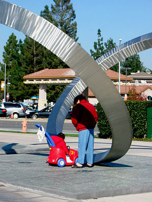 """Perspectives"" in Cupertino - sculpture by Roger Berry"